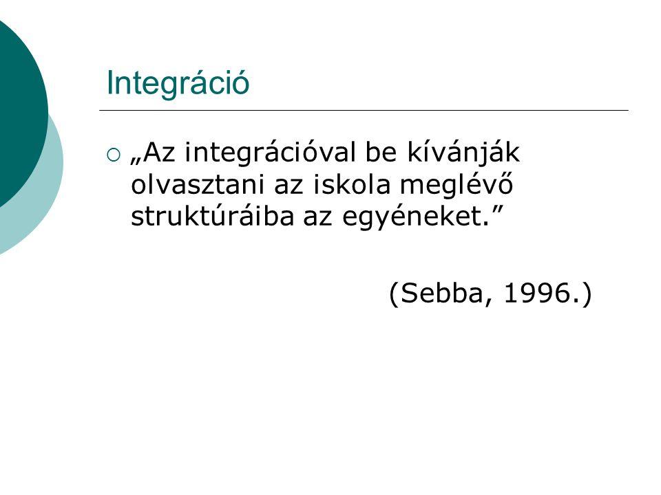 """Integráció """"Az integrációval be kívánják olvasztani az iskola meglévő struktúráiba az egyéneket. (Sebba, 1996.)"""