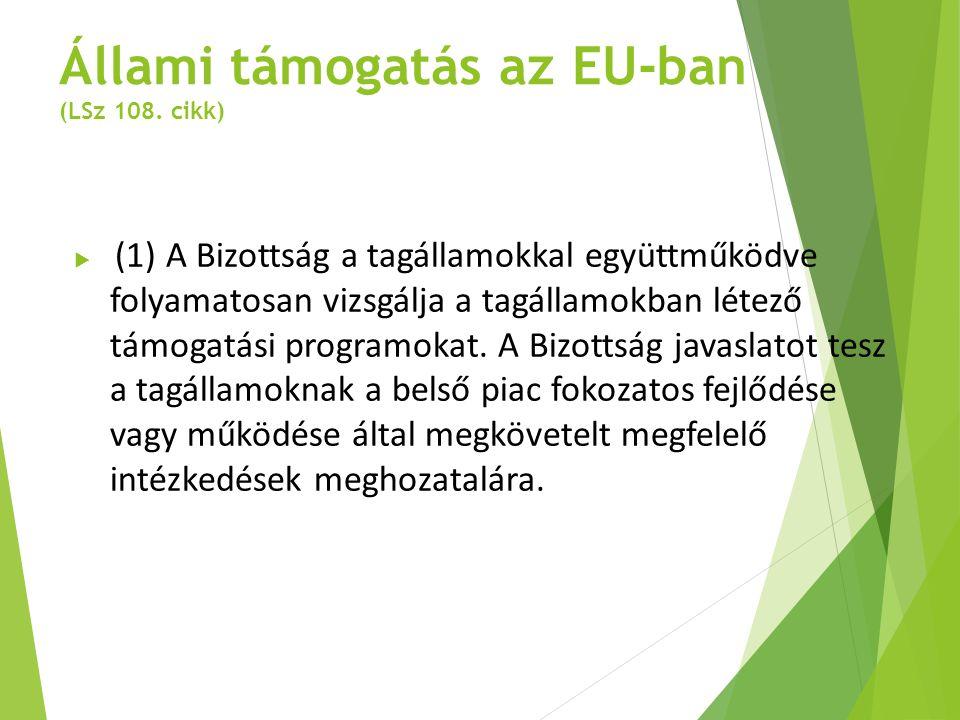 Állami támogatás az EU-ban (LSz 108. cikk)