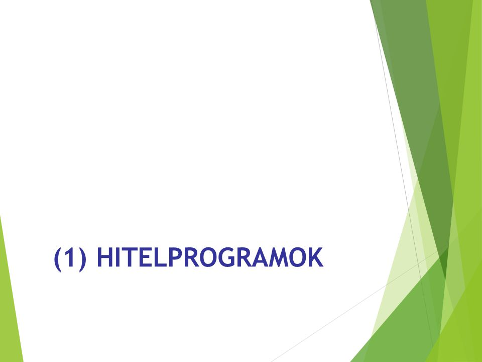 (1) HITELPROGRAMOK