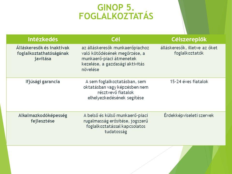 GINOP 5. Foglalkoztatás Intézkedés Cél Célszereplők