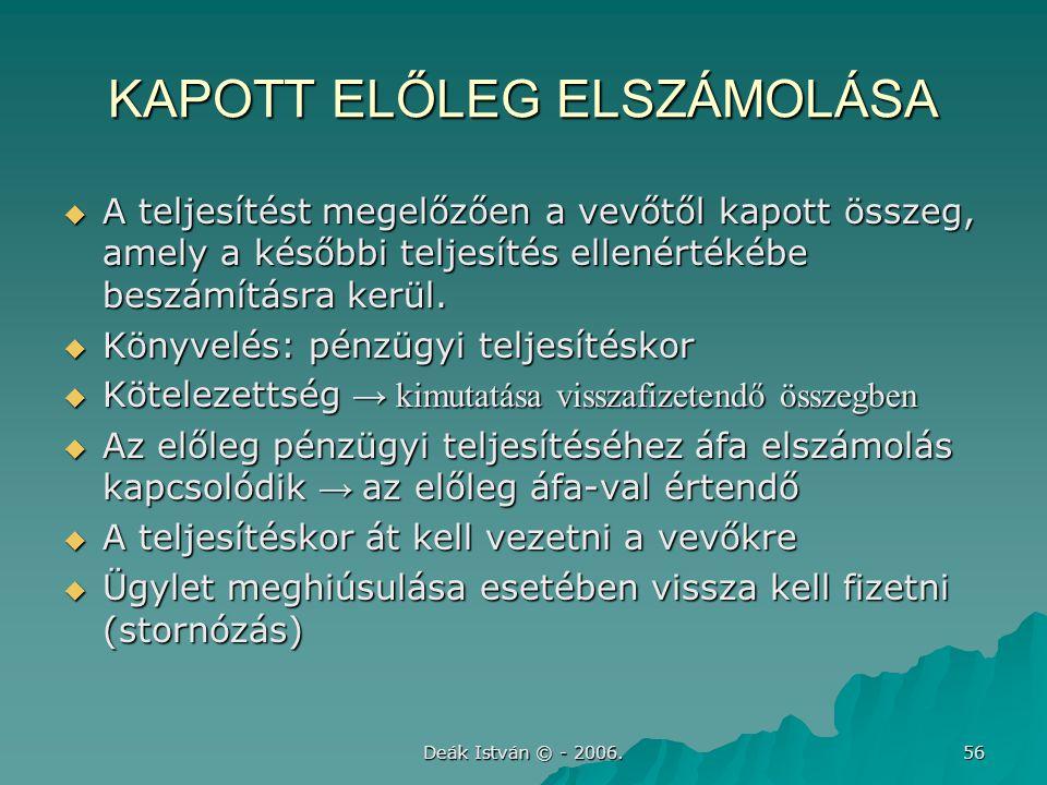 KAPOTT ELŐLEG ELSZÁMOLÁSA