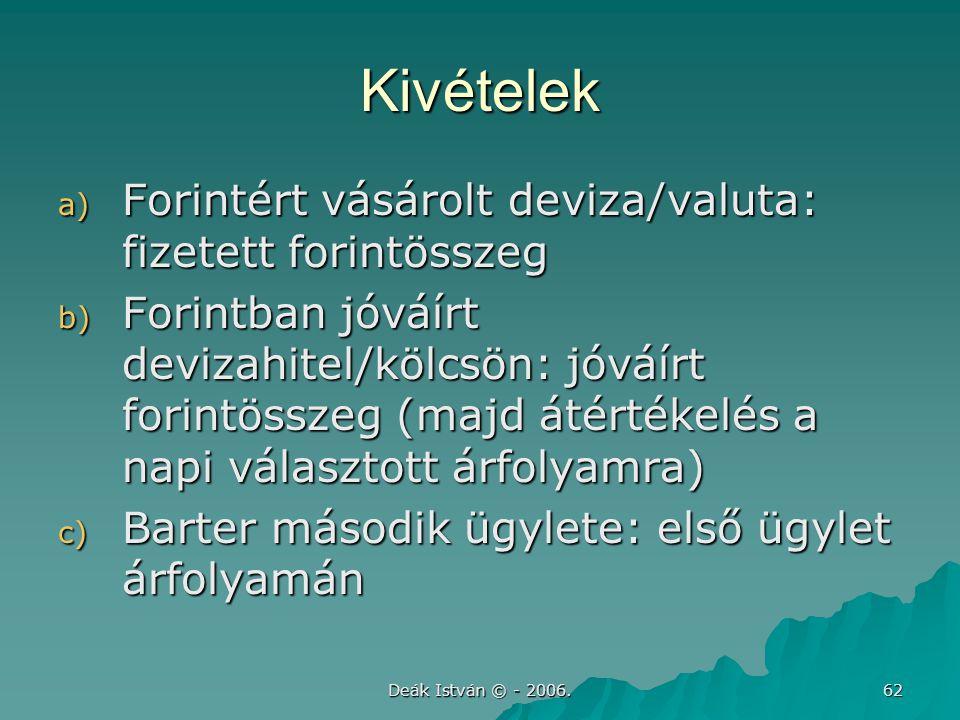 Kivételek Forintért vásárolt deviza/valuta: fizetett forintösszeg
