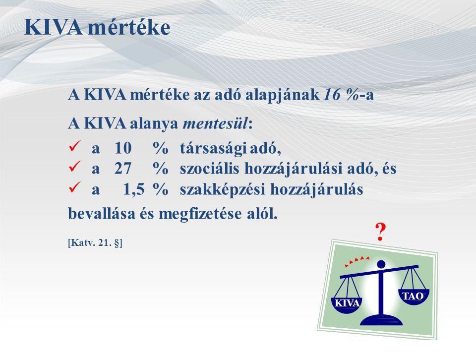 KIVA mértéke A KIVA mértéke az adó alapjának 16 %-a