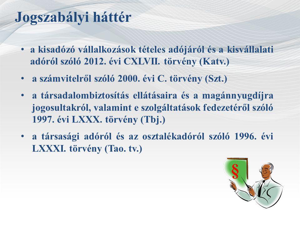 Jogszabályi háttér a kisadózó vállalkozások tételes adójáról és a kisvállalati adóról szóló 2012. évi CXLVII. törvény (Katv.)