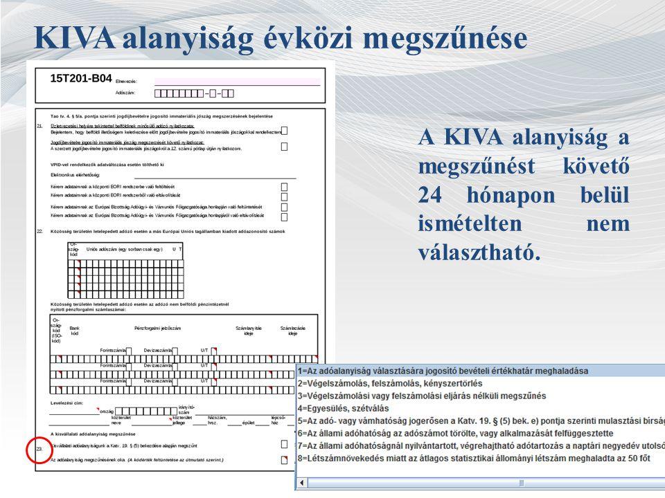 KIVA alanyiság évközi megszűnése