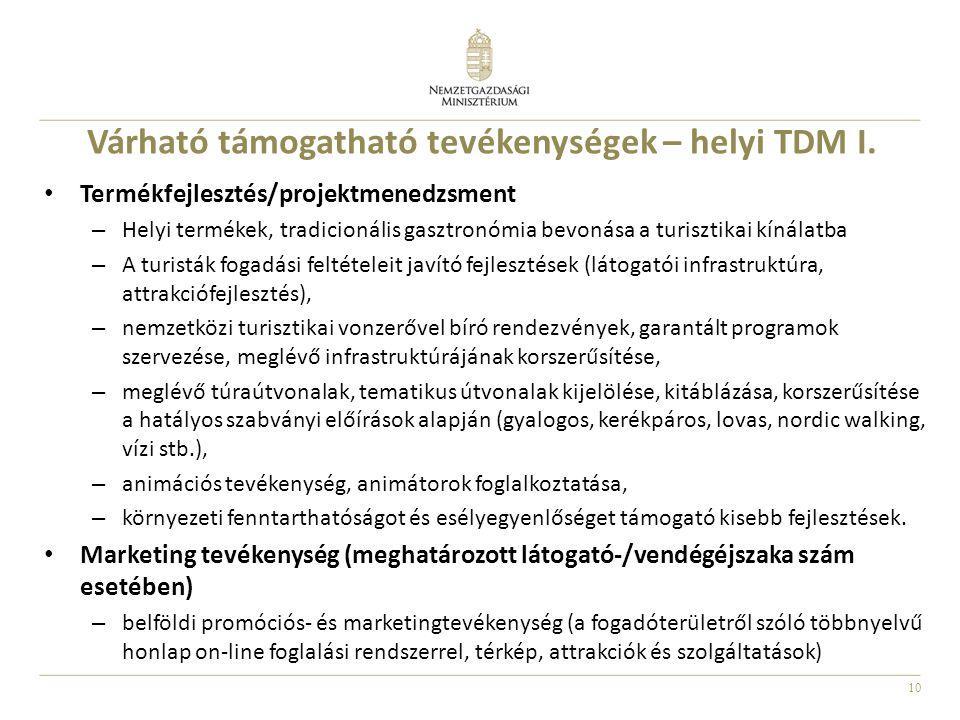 Várható támogatható tevékenységek – helyi TDM I.
