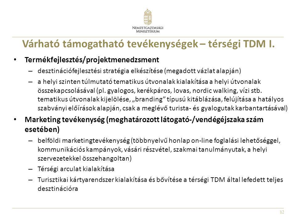 Várható támogatható tevékenységek – térségi TDM I.