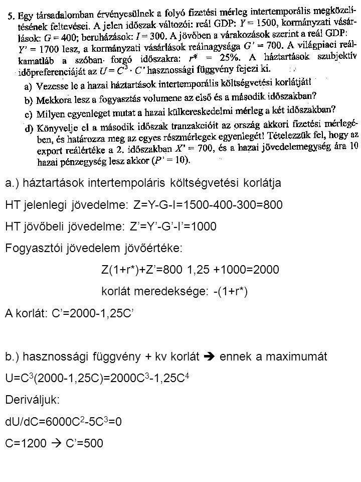 a.) háztartások intertempoláris költségvetési korlátja