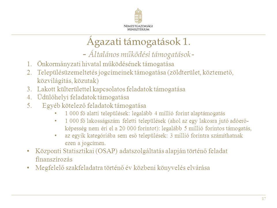 Ágazati támogatások 1. - Általános működési támogatások -