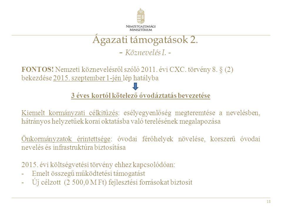 Ágazati támogatások 2. - Köznevelés I. -