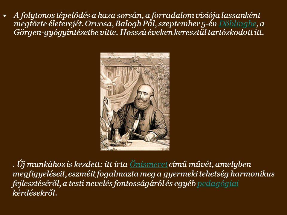A folytonos tépelődés a haza sorsán, a forradalom víziója lassanként megtörte életerejét. Orvosa, Balogh Pál, szeptember 5-én Döblingbe, a Görgen-gyógyintézetbe vitte. Hosszú éveken keresztül tartózkodott itt.
