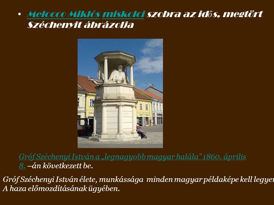 Melocco Miklós miskolci szobra az idős, megtört Széchenyit ábrázolja