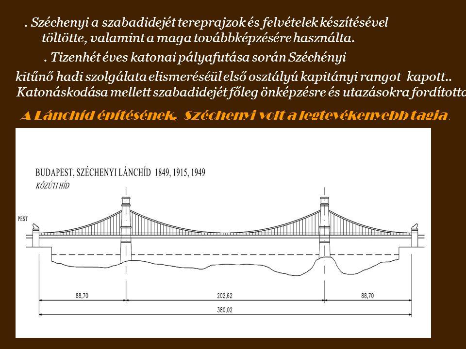 . Széchenyi a szabadidejét tereprajzok és felvételek készítésével töltötte, valamint a maga továbbképzésére használta.