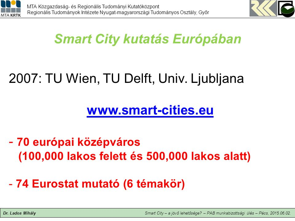 Smart City kutatás Európában