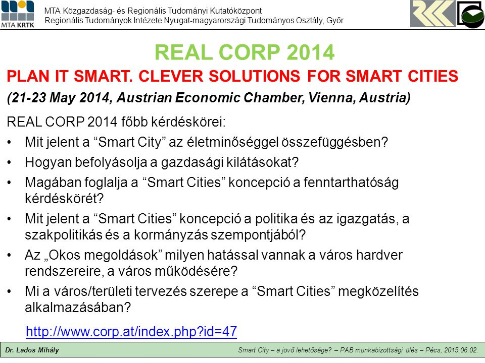 REAL CORP 2014 PLAN IT SMART. CLEVER SOLUTIONS FOR SMART CITIES