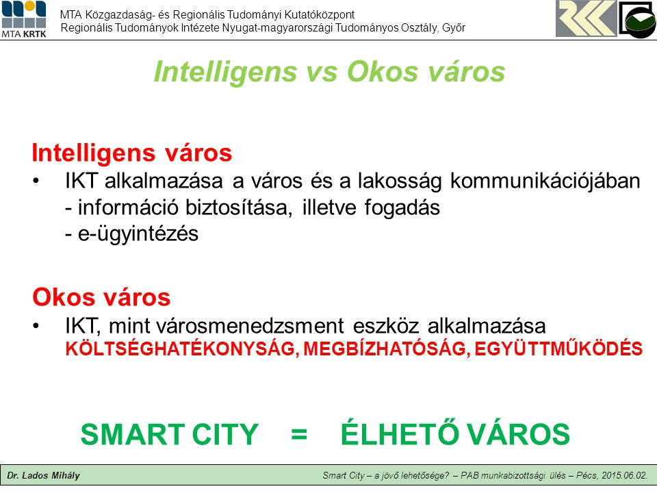 Intelligens vs Okos város SMART CITY = ÉLHETŐ VÁROS