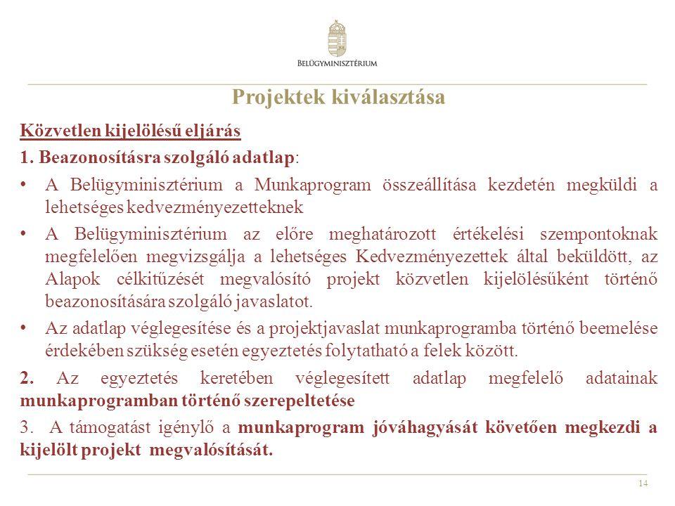 Projektek kiválasztása