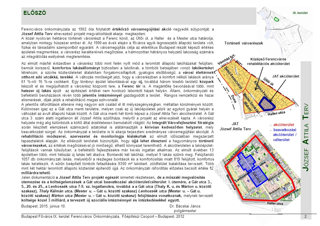 Történeti városrészek Középső Ferencváros rehabilitációs akcióterület