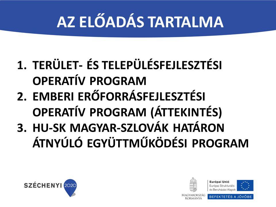 Az előadás tartalma TERÜLET- ÉS TELEPÜLÉSFEJLESZTÉSI OPERATÍV PROGRAM