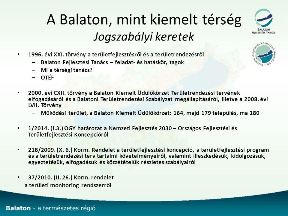 A Balaton, mint kiemelt térség Jogszabályi keretek