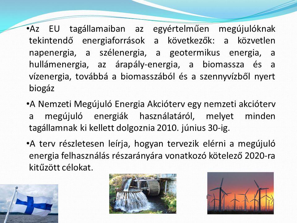 Az EU tagállamaiban az egyértelműen megújulóknak tekintendő energiaforrások a következők: a közvetlen napenergia, a szélenergia, a geotermikus energia, a hullámenergia, az árapály-energia, a biomassza és a vízenergia, továbbá a biomasszából és a szennyvízből nyert biogáz