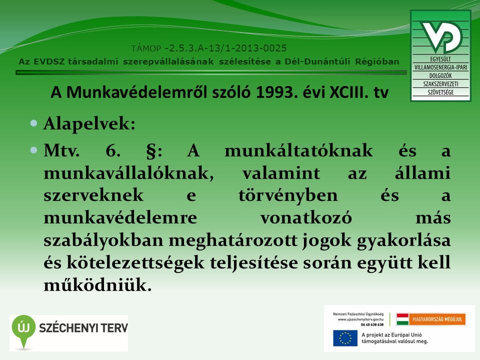 A Munkavédelemről szóló 1993. évi XCIII. tv