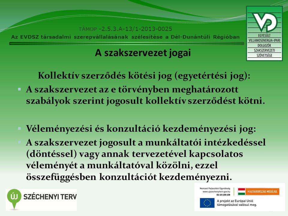 Kollektív szerződés kötési jog (egyetértési jog):