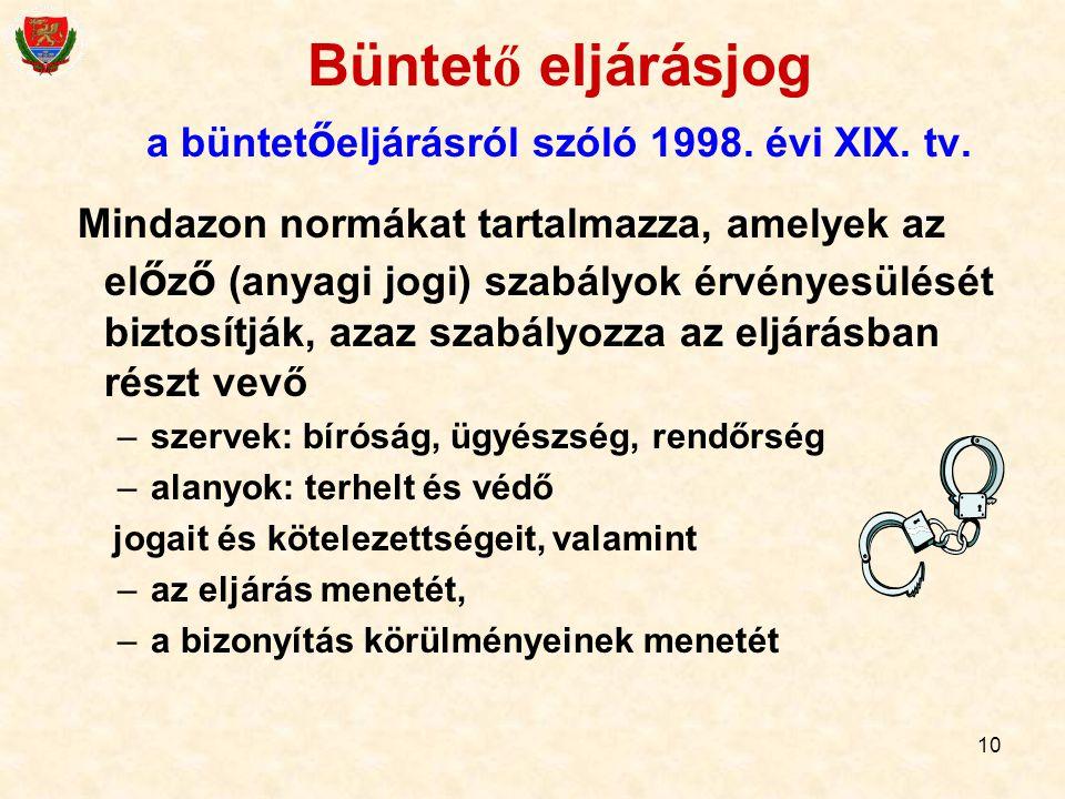 Büntető eljárásjog a büntetőeljárásról szóló 1998. évi XIX. tv.