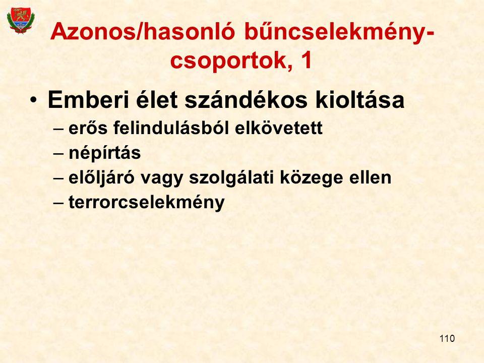 Azonos/hasonló bűncselekmény-csoportok, 1