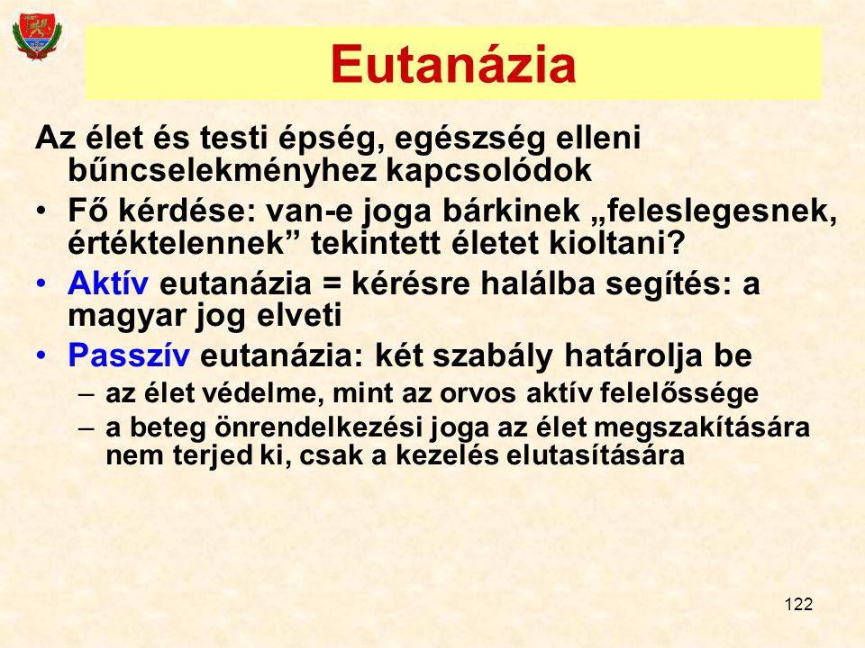 Eutanázia Az élet és testi épség, egészség elleni bűncselekményhez kapcsolódok.