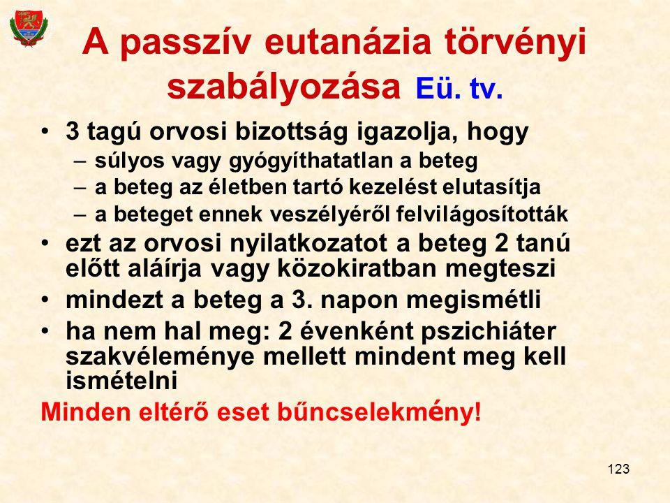 A passzív eutanázia törvényi szabályozása Eü. tv.