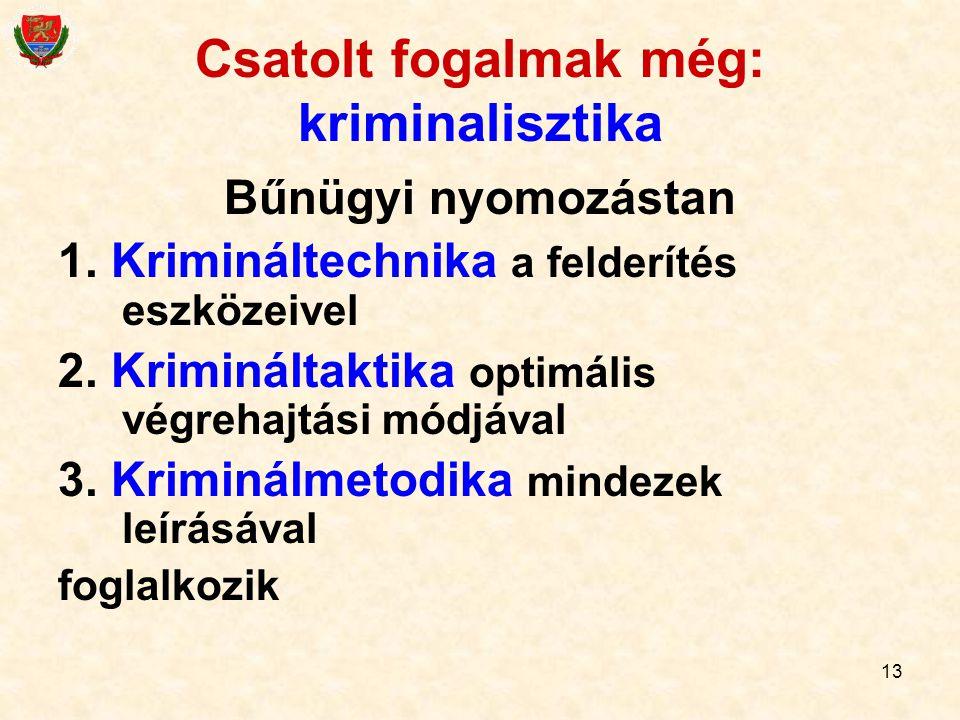 Csatolt fogalmak még: kriminalisztika