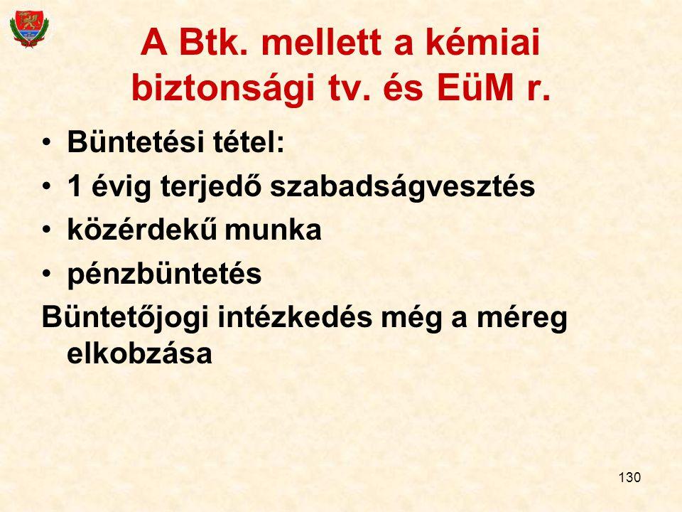 A Btk. mellett a kémiai biztonsági tv. és EüM r.