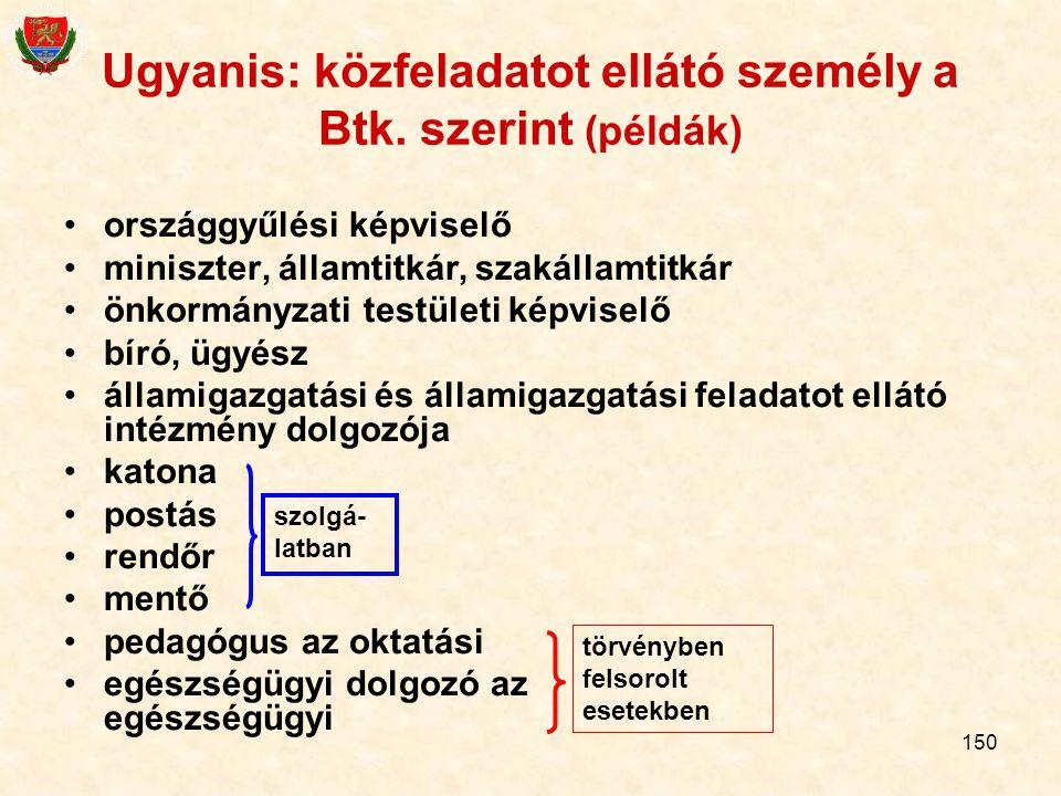 Ugyanis: közfeladatot ellátó személy a Btk. szerint (példák)