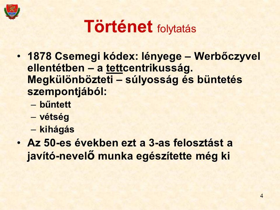 Történet folytatás 1878 Csemegi kódex: lényege – Werbőczyvel ellentétben – a tettcentrikusság. Megkülönbözteti – súlyosság és büntetés szempontjából: