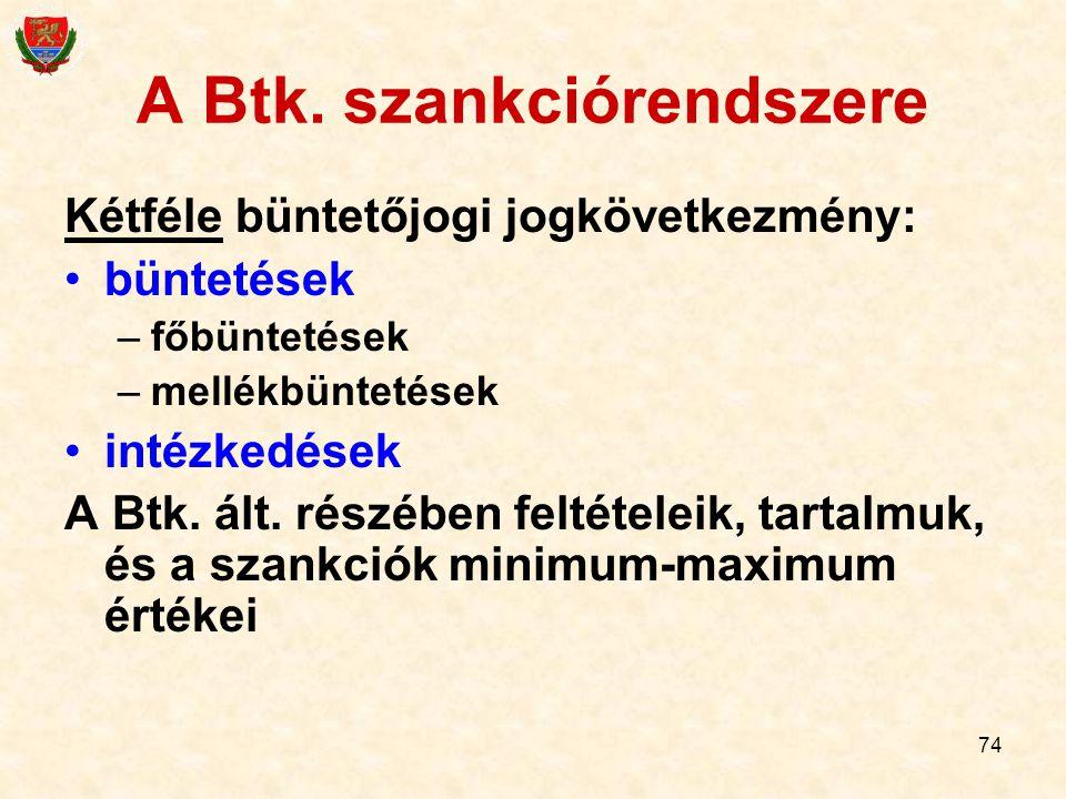 A Btk. szankciórendszere