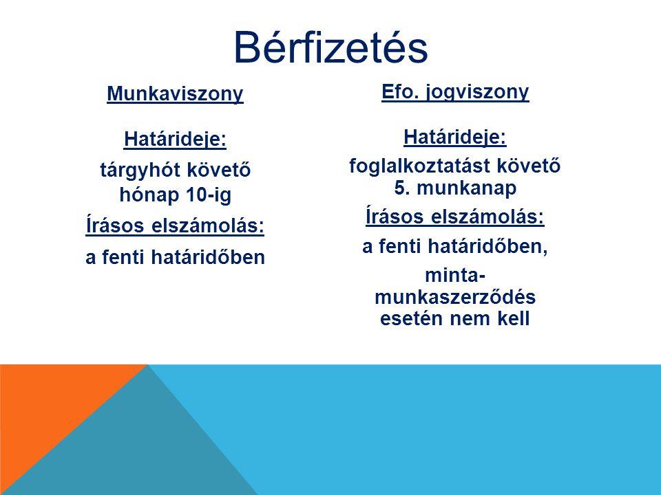 Bérfizetés Munkaviszony Efo. jogviszony