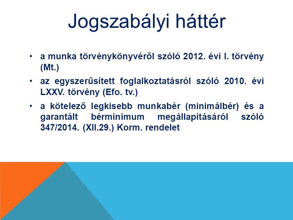 Jogszabályi háttér a munka törvénykönyvéről szóló 2012. évi I. törvény (Mt.)
