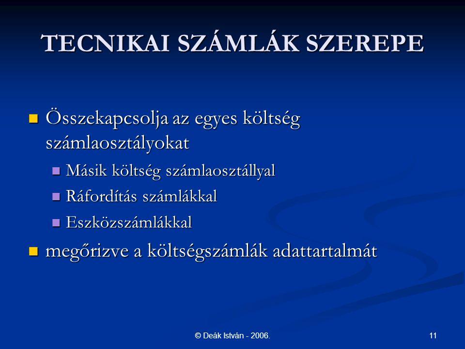 TECNIKAI SZÁMLÁK SZEREPE