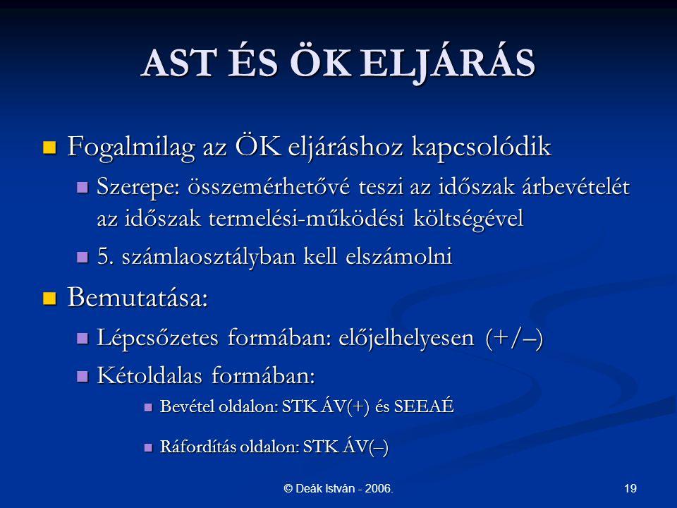 AST ÉS ÖK ELJÁRÁS Fogalmilag az ÖK eljáráshoz kapcsolódik Bemutatása:
