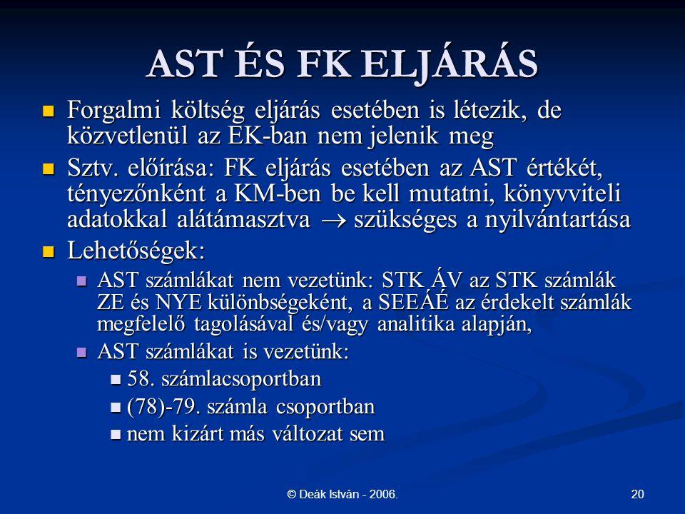 AST ÉS FK ELJÁRÁS Forgalmi költség eljárás esetében is létezik, de közvetlenül az EK-ban nem jelenik meg.