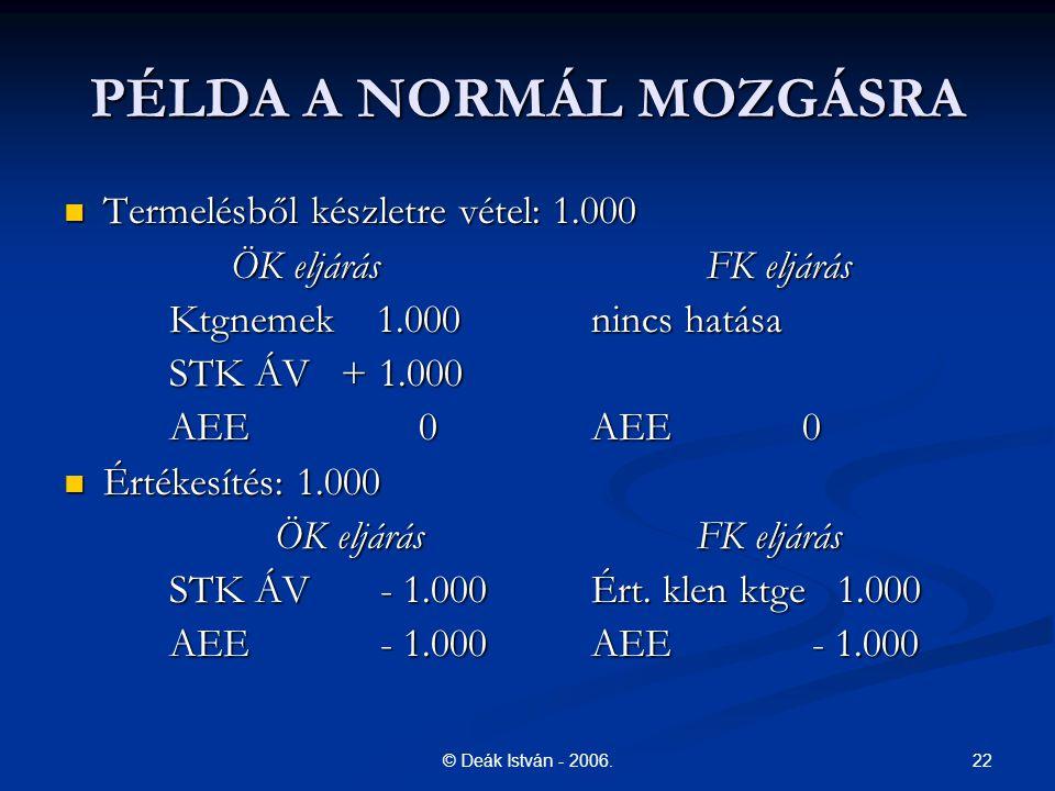 PÉLDA A NORMÁL MOZGÁSRA