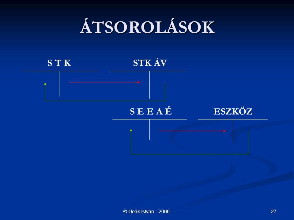 ÁTSOROLÁSOK S T K STK ÁV S E E A É ESZKÖZ © Deák István - 2006.