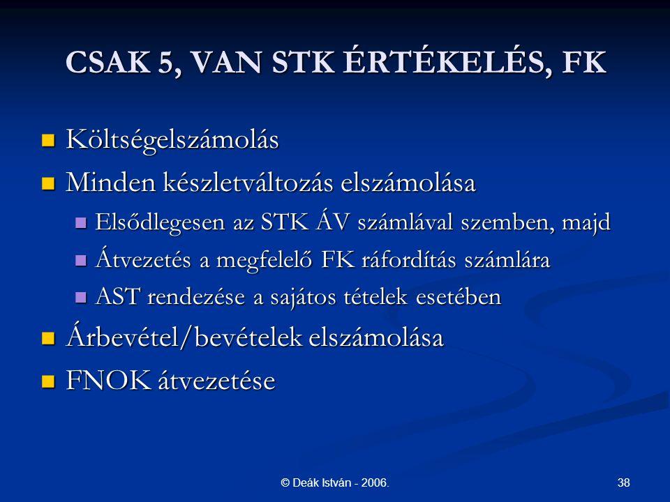 CSAK 5, VAN STK ÉRTÉKELÉS, FK