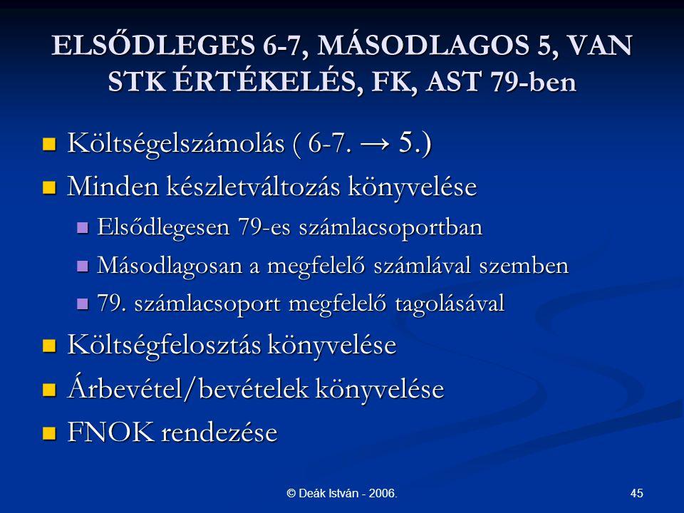 ELSŐDLEGES 6-7, MÁSODLAGOS 5, VAN STK ÉRTÉKELÉS, FK, AST 79-ben