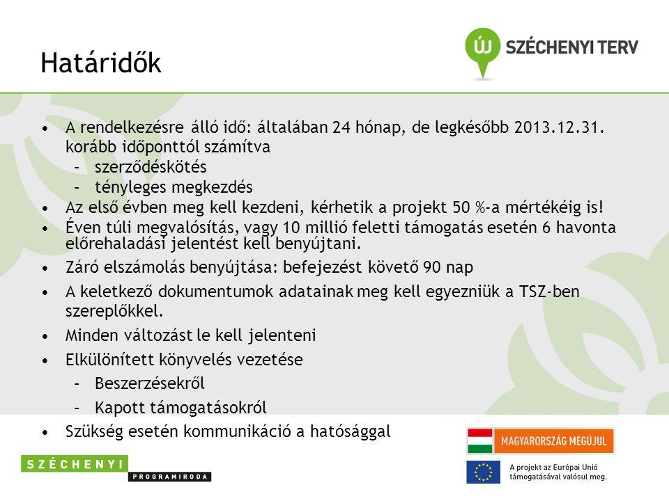 Határidők A rendelkezésre álló idő: általában 24 hónap, de legkésőbb 2013.12.31. korább időponttól számítva.