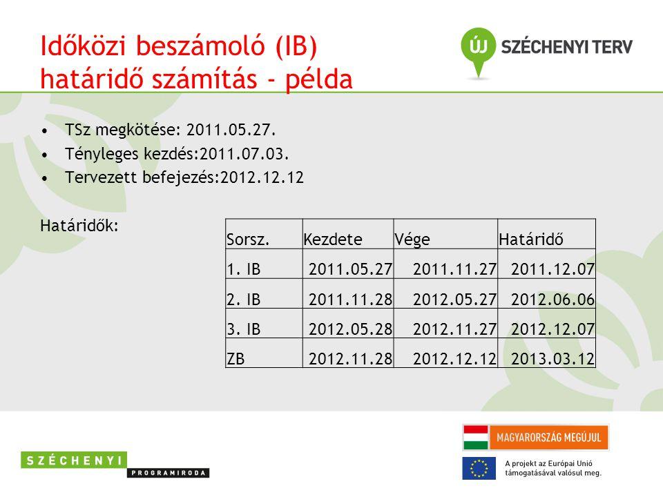Időközi beszámoló (IB) határidő számítás - példa