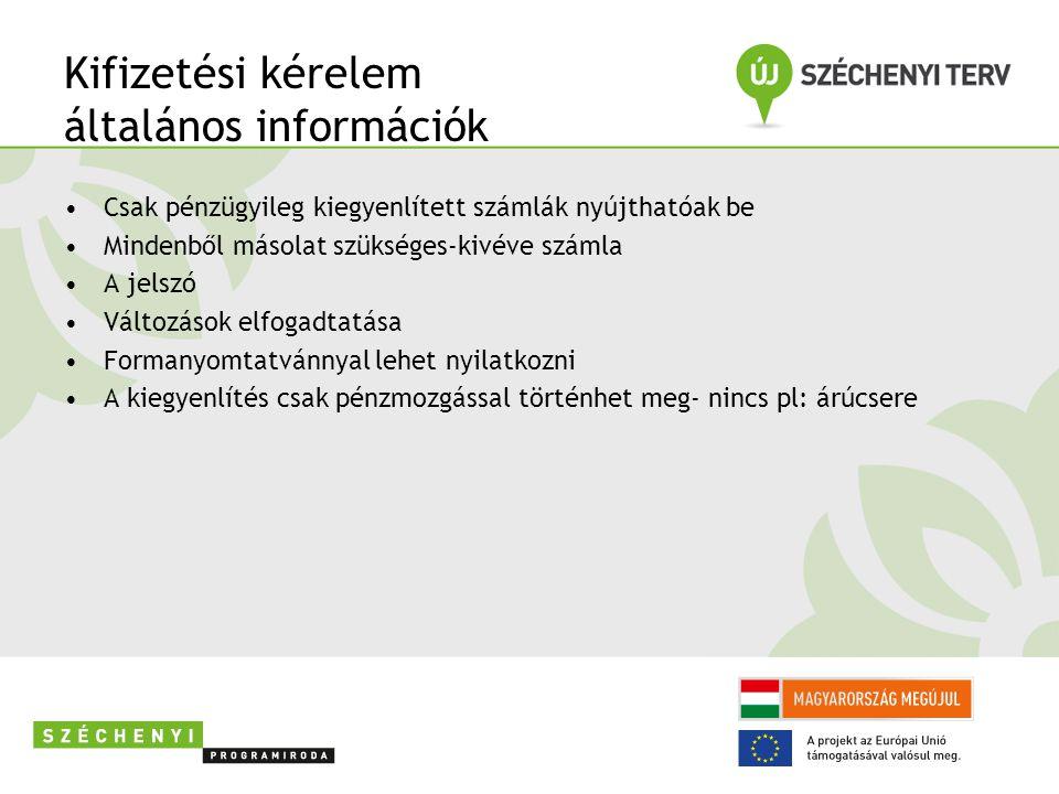 Kifizetési kérelem általános információk