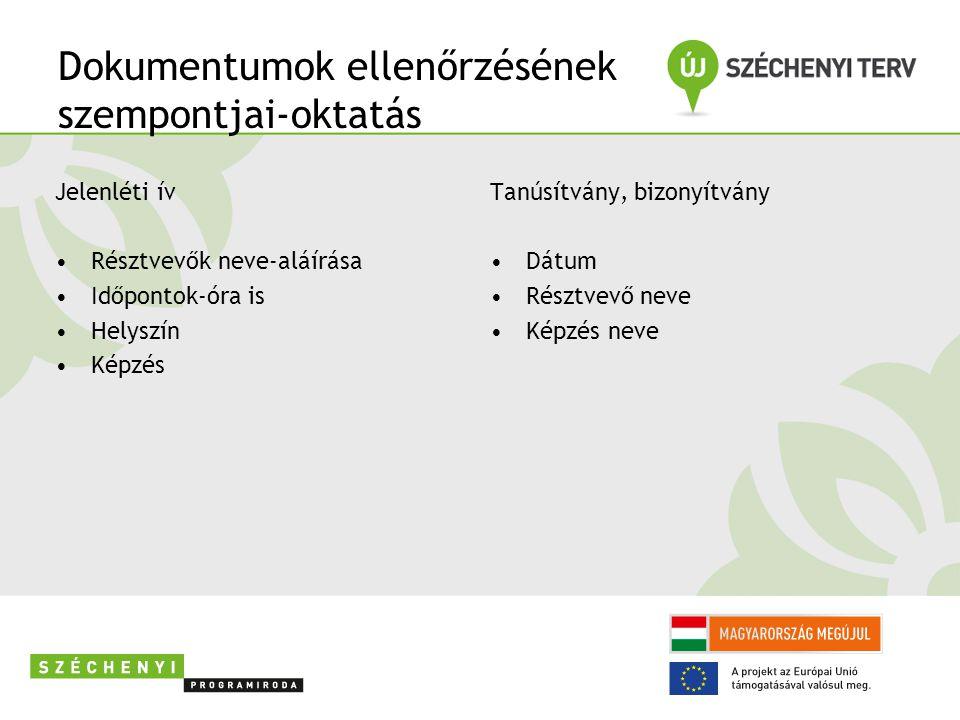 Dokumentumok ellenőrzésének szempontjai-oktatás