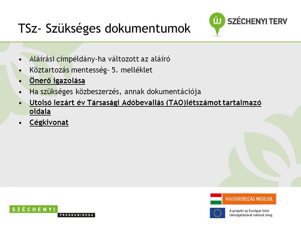 TSz- Szükséges dokumentumok